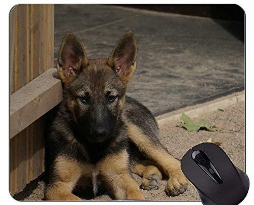 Mauspads - Schäferhund-Hundebrille-Militärfunktion, rutschfeste Gummibasis Mousepad des Welpen