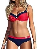 Voqeen Mujer Bikini de Gradiente de Color Establece Retro Empuja hacia Arriba Dos Piezas Acolchadas Lunares/Rayas/Cristal Impresa Ropa de Playa Traje de...
