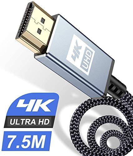 WEGUARD HDMI-Kabel, 4 K, 7,5 m, HDMI-Kabel 2.0, High Speed 18 Gbit/s, HDMI 2.0, geflochtenes Nylon, unterstützt 3D / Audio-Rückgabe, Blu-Ray-Player, Fernseher, Ultra HD PS3 / PS4