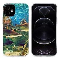 水族館 サメ iPhone 12&iPhone 12 Pro&iPhone 12Pro Max&iPhone 12 miniと互換性のあるクリスタルクリアTPUケース、アンチイエロー、保護耐衝撃落下保護ケース