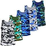LOREZA ® 5 Pack Jungen Camouflage Unterhemden Tank Top (140 146 (10 11 Jahre), Modell 1 5 STÜCK)