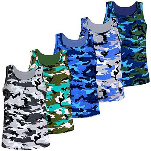 LOREZA ® 5 Pack Jungen Camouflage Unterhemden Tank Top (152-158 (12-13 Jahre), Modell 1-5 STÜCK)