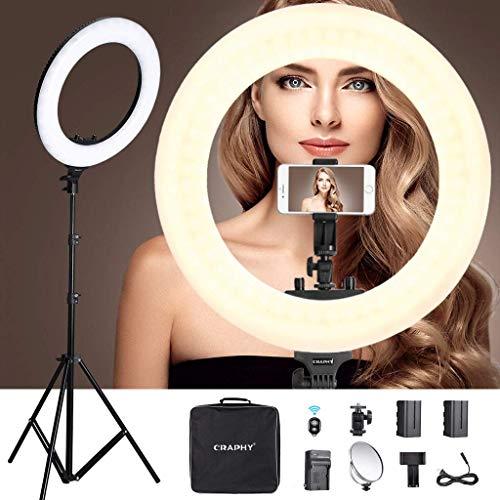 Anillo de Luz LED con Batería Recargable, 46cm 3200-5600 K Ring Light 48W 432 Perlas, Bluetooth para Móvil, Trípode, Espejo Cosmético, para Maquillaje, YouTube Video, Belleza y Fotografía de Moda