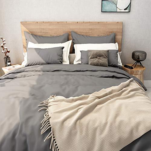 SUNNEEHOME Duvet Cover Sets 3 Pieces, Zipper Closure Soft Microfiber Comforter Cover, Grey (King...