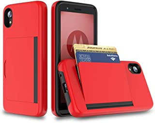 FDTCYDS Moto E6 Case with Card Holder,Shockproof Armor Silicone Hybrid Rugged Protective Wallet Cover Case for Motorola Moto E6 (2019 Edition)- Red