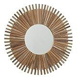 CasaJame Espejo solar redondo con marco de madera de bambú, espejo de pared de sol, mediterráneo,...
