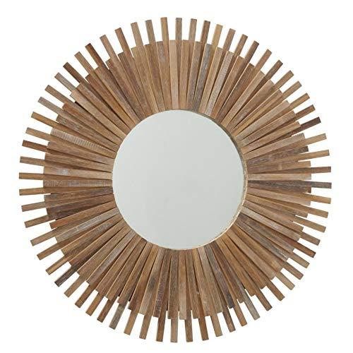Espejo solar redondo con marco de madera de bambú, espejo de pared de sol, mediterráneo, objeto de pared de 75 cm de diámetro