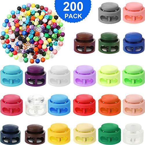 200 Piezas de Cerraduras de Cordón de Plástico de Resorte Tope de Deslizante de Resorte de Doble Orificio Cerradura de Cordón de Equipaje en Forma de Cilindro Botones de Cierre Deslizante, Color Mixto