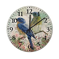 TattyaKoushi Fashion Wooden Wall Clocks Home Decorative Romantic Jungle Bird Silent & Non-Ticking Rustic Country for Living Room,Bedroom,Kitchen Round 16x16 Inch,4040cm