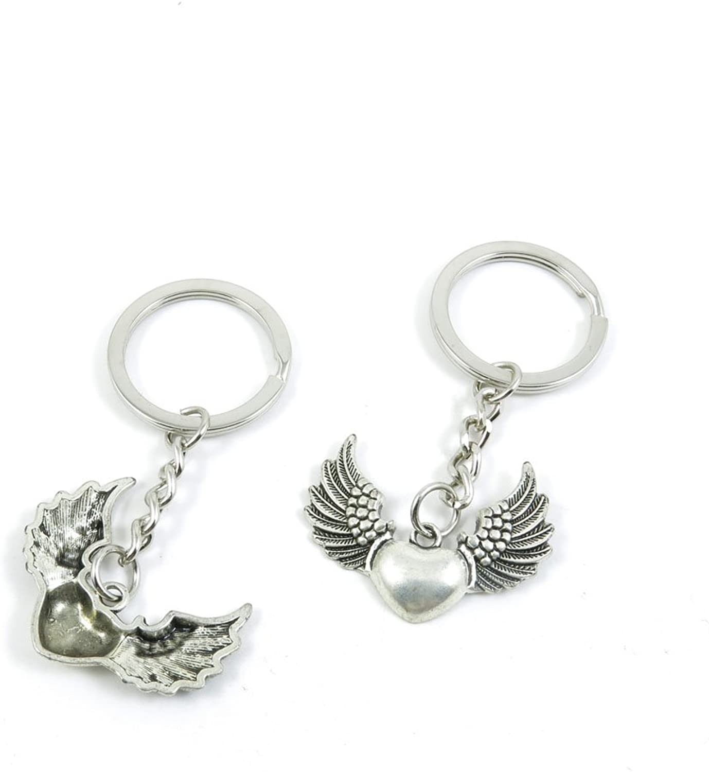 100 Pieces Keychain Keyring Door Car Key Chain Ring Tag Charms Bulk Supply Jewelry Making Clasp Findings G8RD6A Heart Wings