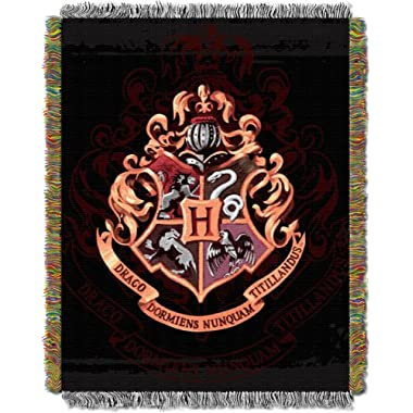 Warner Brothers JK Rowling Harry Potter, Hogwarts Décor  Metallic Woven Tapestry Throw Blanket, 48  x 60