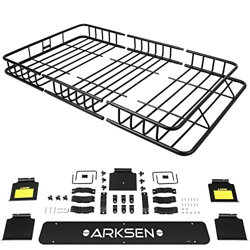 ARKSEN 64 Universal Black Roof Rack Cargo with Extension Car Top Luggage Holder Carrier Basket SUV Storage, Black