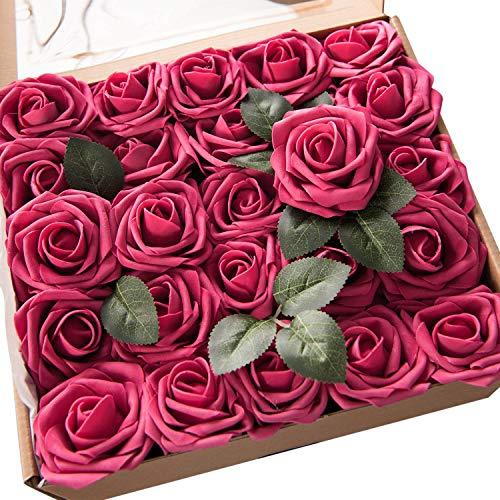 Ruiuzi Rosa Artificial Flor 25PCS Rosa Falsa Espuma Mirada Real con Hoja y Vástago Ajustable para Bricolaje Ramos de Boda Decoraciones para el Hogar Nupciales (Fucsia, 25pcs)