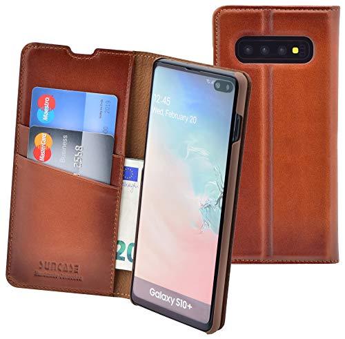 Suncase Samsung Galaxy S10 Plus Handmade Book-Style (Slim-Fit) van echt lederen tasje Beschermhoes Wallet Case Hoes, gebrand cognac