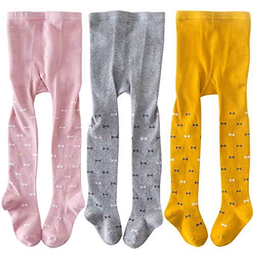 XPXGMT Paquete de 3 mallas de algodón para niñas pequeñas y niñas, con estampado de lazo, 2 a 8 años