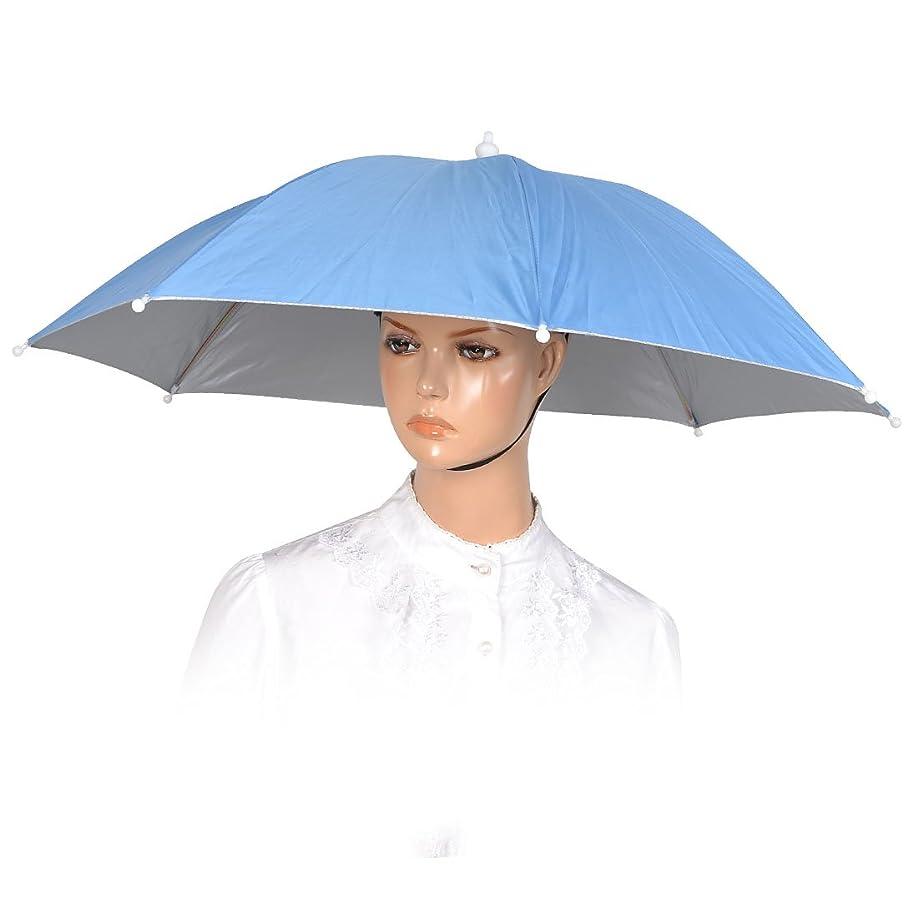六月枯れる天皇uxcell 傘帽子 つり用傘 すげ笠 釣り帽子 釣傘 折りたたみ式 ブルー 頭囲33cm-38cm
