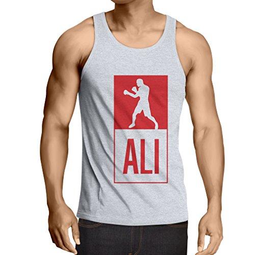 Camisetas de Tirantes para Hombre Boxeo - en el Estilo de Lucha para Entrenamiento, Deportes, Ejercicio, Funcionamiento, Ropa de Fitness (Large Blanco Multicolor)