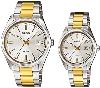 Casio Two Tone His and Her pair watch MTP/LTP-1302SG-7AV