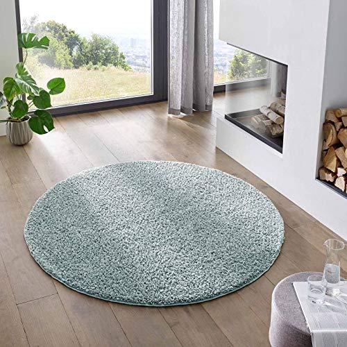 Teppich Wölkchen Shaggy-Teppich   Flauschiger Hochflor für Wohnzimmer, Kinderzimmer oder Flur Läufer   Einfarbig, Schadstoffgeprüft, Allergikergeeignet I Tuerkis - 150 cm rund