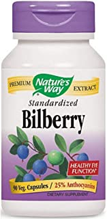 Nature's Way Bilberry Standardized Extract Veg Capsules 90 ea (Pack of 4)
