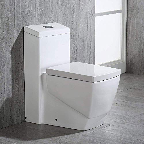 Woodbridge White B0920/T-0020 T-0020 Dual Flush Elongated One Piece Toilet, Square Design, Color