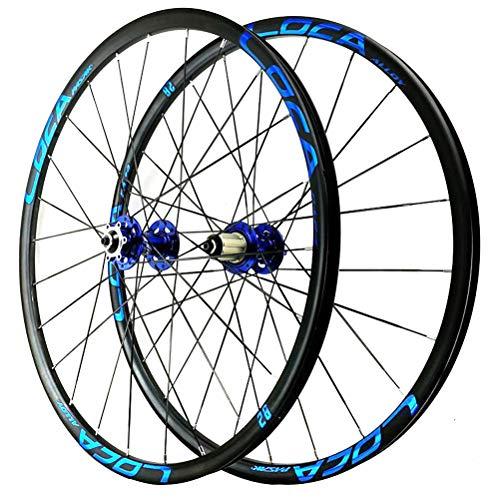 26 27 5-Zoll-MTB-Mountainbike-Laufradsatz Leichtmetall-Doppelwandfelge Scheibenbremse Schnelle Veröffentlichung 6 Pawl 8-12 Geschwindigkeit 24H (Color : Blue, Size : 26in)