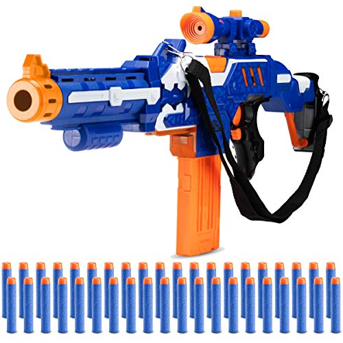 Zetz Brands Automatic Toy Foam Blasters Kids - Electric Soft Dart Launcher Set with Scope and Shoulder Strap - Premium Blaster Toys Playset for Boys, Girls, Kids, and Adults - Includes 40 Soft Darts