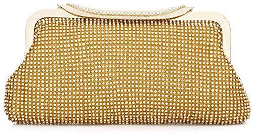 HGA Damen Abend Clutch Bag Crystal Sparkly Mode Abend Braut Prom Party Handtasche Geldbörse,Gold