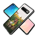 Case for Samsung Galaxy S10 case Cows and Sunflowers Slim Soft and Hard Tire Shockproof Protective Phone Cover Case Slim Hybrid Shockproof Protective Case Anti-Scratch Cushion Bumper with Reinforced C