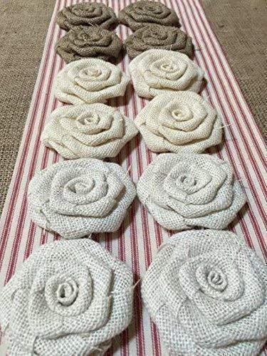 Set of 12 Burlap Flowers in Sale 5 ☆ popular Special Price Natural White Flower Ivory 3.5
