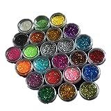 GGBEST 24 Colores acrilicos Brillantes Escarcha UV Hojas Consejos Unas Arte Decoracion
