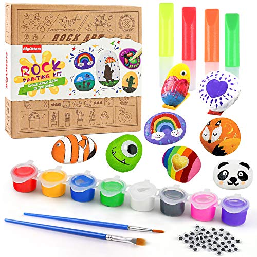 BigOtters Rock Painting Kit for Kids, Arts and Crafts for Girls and Boys Ages 6-12 Art Craft Gift for Rock Painting Supplies for Painting Rocks with Water Resistant Glow Paint Craft Gift for Kids