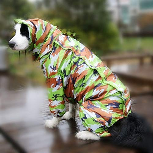 Grote Hond Regenjas waterdicht Rain Jumpsuit for Groot Medium kleine honden Golden Retriever Outdoor Kleding for huisdieren Coat WLYANG (Color : Camo, Size : 20)