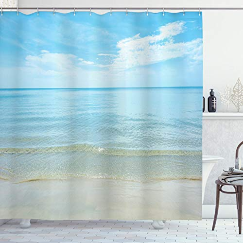 "Ambesonne Ocean Shower Curtain, Sunny Summer Day at The Sandy Beach Tranquil Calm Shore Sea Horizon Image Artprint, Cloth Fabric Bathroom Decor Set with Hooks, 84"" Long Extra, Blue Cream"