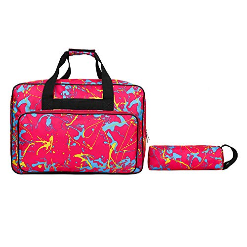 Sewing Machine Carrying Case, Durable Canvas Sewing Machine Storage Bag,Roomy Tote Bag with Pocket, Handles and Sewing Accessories Case,Sewing Machine Specific Bag Travel Companion (Rose Red)