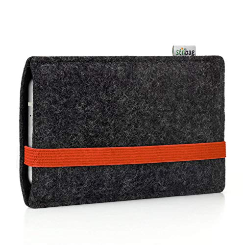 stilbag Filztasche 'Leon' für Microsoft Lumia 950 XL - Farbe: orange-anthrazit | Smartphone-Tasche aus Filz | Handy Schutzhülle | Handytasche Made in Germany