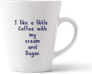 Style In Print Navy I Like A Little Coffee with My Cream and Sugar Ceramic Latte Mug - 12 OZ