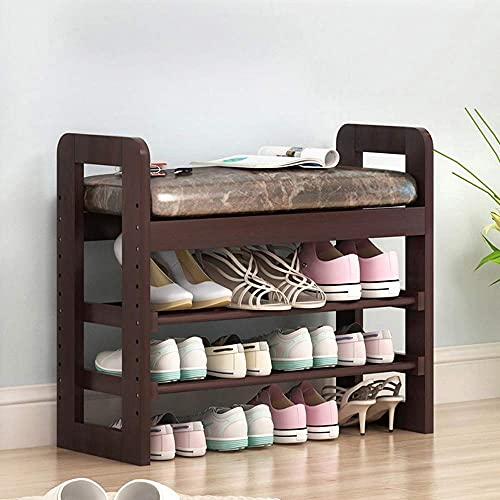 ZAIHW Shoe Rack Wood Organiser Stand Small 2 Tier Shelf Bench With Seat Box Storage Cabinet/Sonoma Oak Effect Cushion (Color : 3 layers-71X60X30cm)