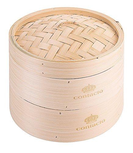 Dampfkorb, doppelt aus Bambus, für die astiatische Küche / Ø dia 20 cm, Höhe: 15 cm | ERK