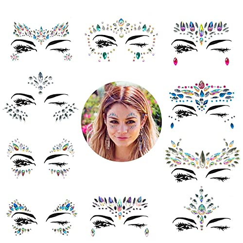 Face Gems, 10 Sets Mermaid Face Jewels Festival Face Gems Rhinestones Rave Eyes Body Bindi Temporary Stickers Crystal Face Stickers Decorations Fit for Festival Party?10 Sets collection?