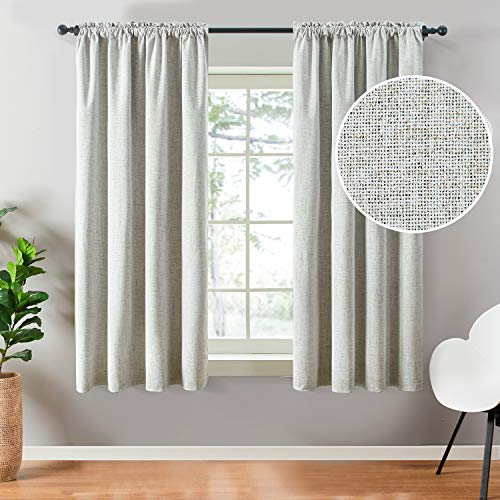Top Finel 100% Blackout Curtains 63 Inches Long Faux Linen Thermal Insulated Drapes Darkening Rod Pocket Window Curtains for Bedroom Living Room, Light Grey, 2 Panels