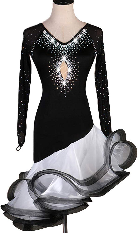 MoLi Klassische Langarm Latein Tanzwettbewerb Kleid für Frauen Erwachsene Rumba Zumba Tango Tanz Performance Kostüm Trikot Grten Rock,schwarz,L