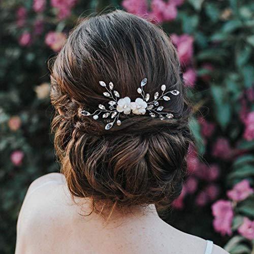 Zoestar Haarkämme mit Blume, Silber-Kristall, Kopfschmuck, Brautschmuck, Perle, Haar-Accessoires für Frauen und Mädchen