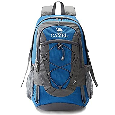 Camel 30L Lightweight Hiking Backpack Outdoor Backpacking Travel Daypack Water Repellent and Durable Blue