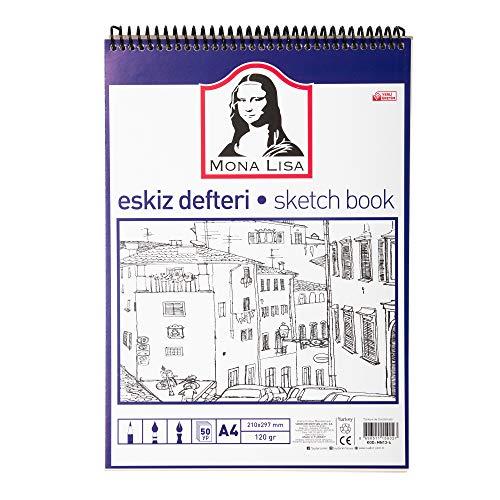 Bloc de dibujo DIN A4 120 hojas, Sketchbook con 100 g/m2 papel blanco para dibujos, libro vacío (21,0 x 29,7 cm) con 240 páginas de papel, con tapa dura negra resistente (DIN A4 espiral)
