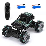 Powerextra Remote Control Car, 2.4Ghz 4WD Double Sided Rotating 360 Flips Rc Stunt Car, 1:18 Off Road Monster Truck, All Terrain Hobby Vehicle with 2 Batteries for 50 Min Play, Gift for Boys Girls