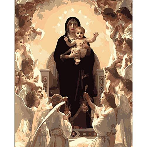 Msliuhuahua Virgen María Figura DIY Pintura Digital por Números Arte De La Pared Moderna Pintura De La Lona De Navidad Decoración para El Hogar 40X50 Cm Sin Marco