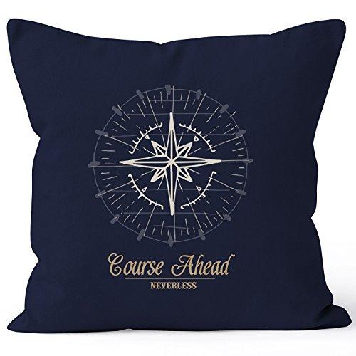 maritimer Kissenbezug Kompass Windrose Navigator Segeln Kissen-Hülle 40x40 Baumwolle Autiga® navy 40cm x 40cm