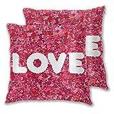 Not Applicable Fodere per Cuscino da tiro Set di 2, San Valentino Love Fodera per Cuscino Decorativo per Cuori Rosa San Valentino 45x45cm