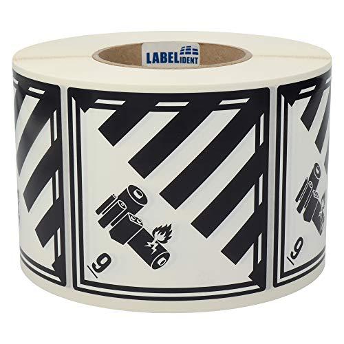 Labelident Gefahrgutaufkleber 100 x 100 mm - Klasse 9A - Lithium-Batterien - 1000 Gefahrgutetiketten auf 1 Rolle(n), 3 Zoll Kern, Polyethylen weiß/schwarz, selbstklebend
